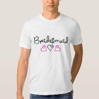 Bridesmaid Pink Black Hearts T-shirts