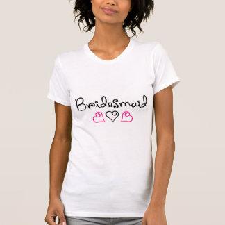 Bridesmaid Pink Black Hearts Tshirts
