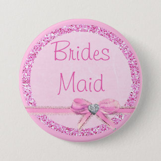 Bridesmaid  Pink Bow Faux Glitter Button