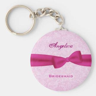 Bridesmaid Pink Bow Pink Damask E016 Basic Round Button Key Ring