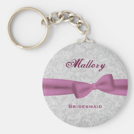 Bridesmaid Pink Bow Silver Damask E004 Key Chains