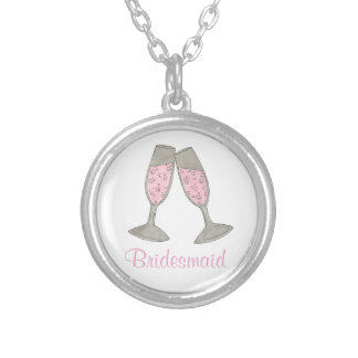 Bridesmaid Pink Champagne Wedding Party Necklace