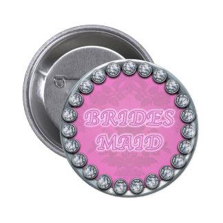 bridesmaid pink diamonds button