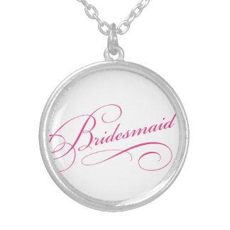 Bridesmaid pink elegant typography script round pendant necklace
