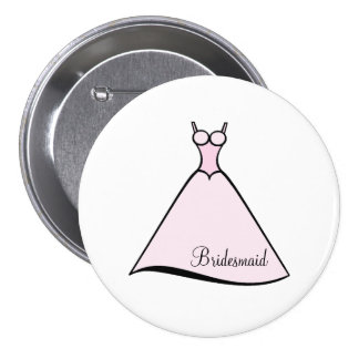 Bridesmaid Pink Gown 7.5 Cm Round Badge