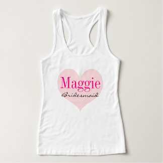 Bridesmaid Pink Heart Personalized Singlet