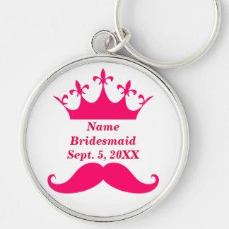 Bridesmaid Pink Mustache and Tiara Round Keychain