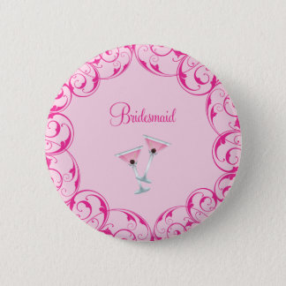 Bridesmaid Pink Swirl Martini Button
