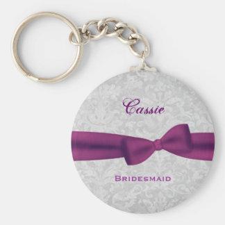 Bridesmaid Plum Purple Bow Silver Damask E007 Basic Round Button Key Ring