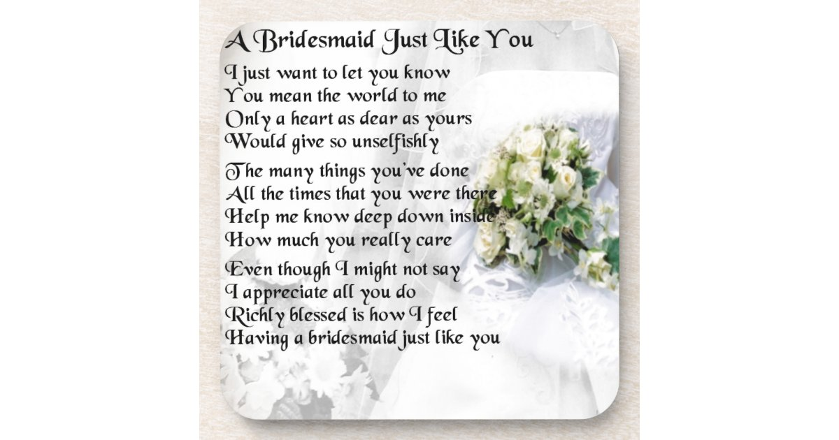 Bridesmaid Poem Wedding Bouquet Beverage Coaster