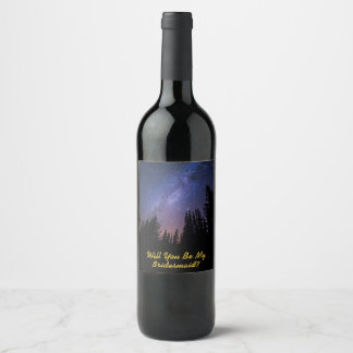 Bridesmaid Proposal Wine Label - Starry Night