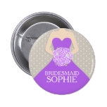 Bridesmaid purple dress named wedding pin button
