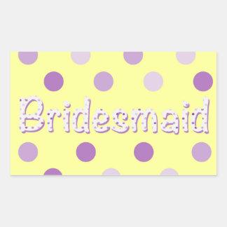 Bridesmaid Purple Polka Dot Rectangular Sticker
