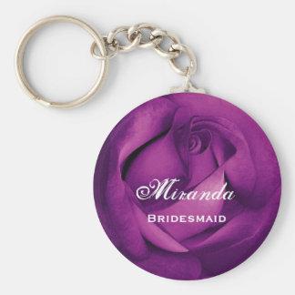 Bridesmaid Purple Rose  E060 Basic Round Button Key Ring