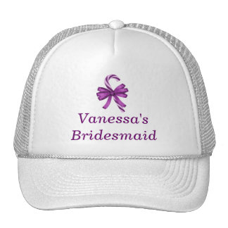 "Bridesmaid - ""Purple Striped Candy Cane w/ Ribbon"" Mesh Hats"