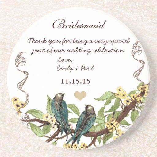 Bridesmaid Reception Teal Vintage Bird Coasters