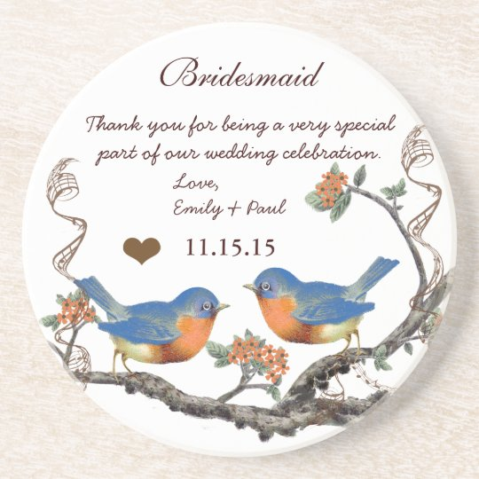 Bridesmaid Reception Vintage Bird Coasters