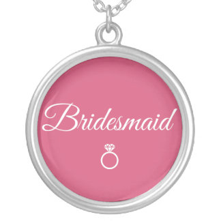 Bridesmaid ring silver plated necklace