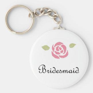 Bridesmaid Rose Basic Round Button Key Ring