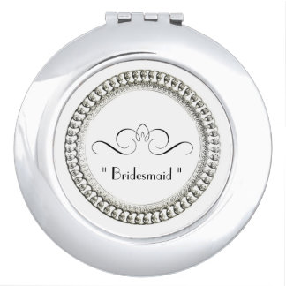 """Bridesmaid "" Round* -TEMPLATE-Silver Ornate II Vanity Mirrors"