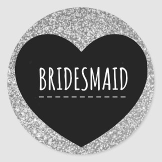 Bridesmaid | Silver Glitter | Heart | Sticker