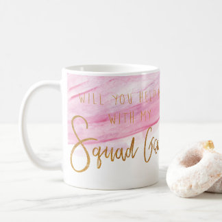 BRIDESMAID SQUAD GOALS - SOFT PINK WATERCOLOR COFFEE MUG