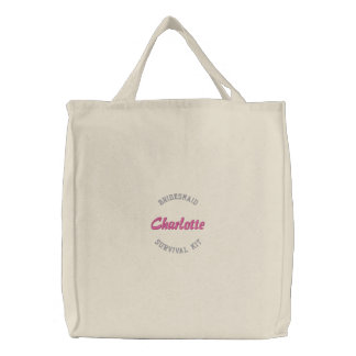 Bridesmaid survival kit pink embroidered tote bag