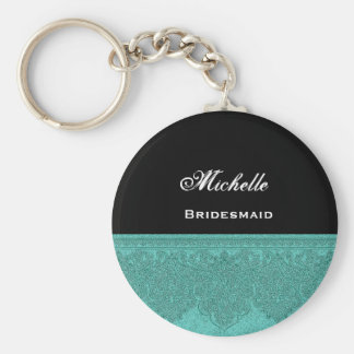 Bridesmaid Teal Damask Ribbon Basic Round Button Key Ring