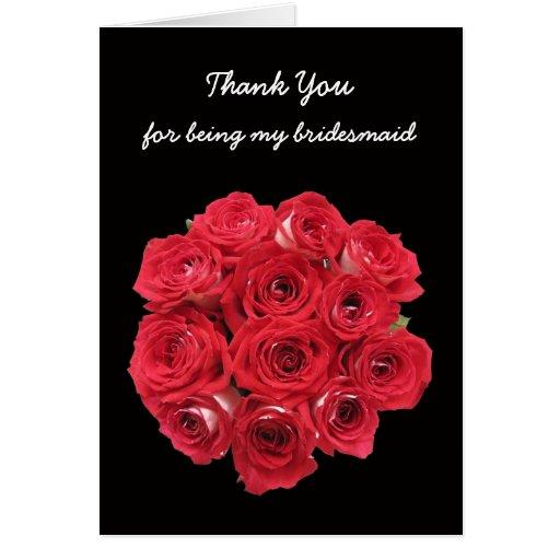 Bridesmaid Thank You Card -- Bridal Roses
