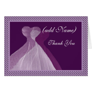 Bridesmaid Thank You - Double PURPLE Gowns Cards