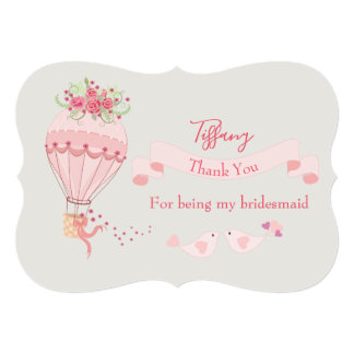 Bridesmaid Thank You Hot Air Balloon Card