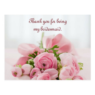 Bridesmaid Thank You Pink Roses Postcard
