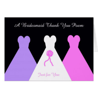Bridesmaid Thank You Poem Card
