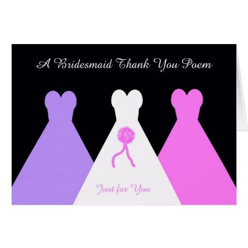 Bridesmaid Thank You Poem Greeting Card