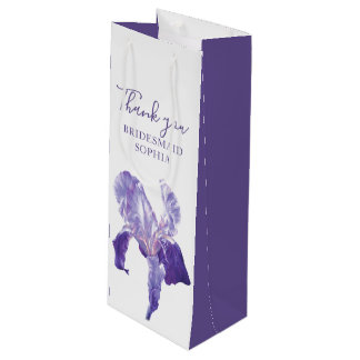 Bridesmaid thank you wedding iris wine gift bag