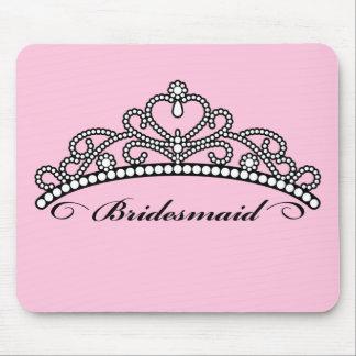 Bridesmaid Tiara Mousepad (pink background)