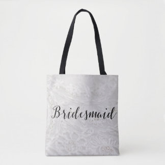 Bridesmaid Tote Bag Lace Canvas