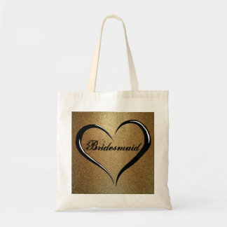 Bridesmaid Tote Bag with Gold Glitter and Heart