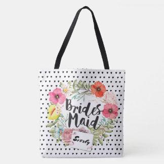 Bridesmaid Typography Watercolor Floral Wreath Tote Bag