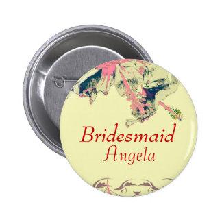 Bridesmaid vintage hibiscus exotic button