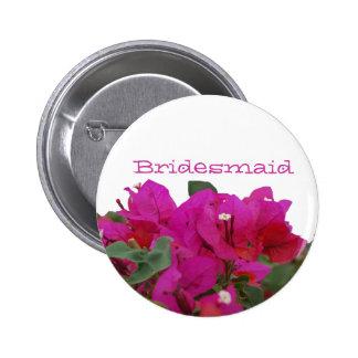 Bridesmaid Vivid Flowers 6 Cm Round Badge