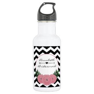 Bridesmaid Water bottle w/ Floral Chevron Design
