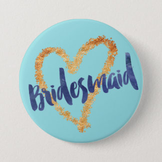 Bridesmaid Watercolor Brush on Island Paradise 7.5 Cm Round Badge