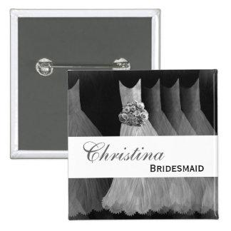Bridesmaid Wedding Button - SILVER Gowns