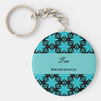 Bridesmaid Wedding Favor Aqua Flowers V0447 Basic Round Button Key Ring