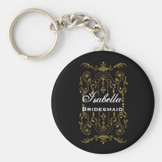 Bridesmaid Wedding Favor Black Gold Ornate B029 Basic Round Button Key Ring
