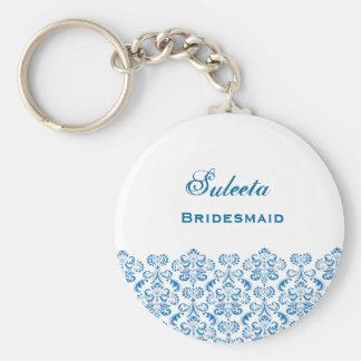 Bridesmaid Wedding Favor Blue Damask Lace B039 Basic Round Button Key Ring