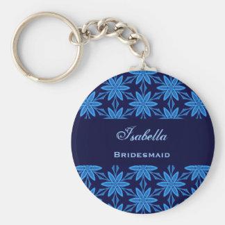 Bridesmaid Wedding Favor Blue Star Flowers V020 Basic Round Button Key Ring
