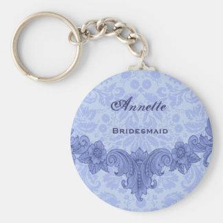 Bridesmaid Wedding Favor Blue Vintage B030 Basic Round Button Key Ring