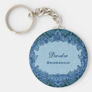 Bridesmaid Wedding Favor Blue Vintage Damask G303 Basic Round Button Key Ring